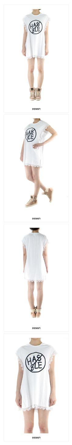 KOREA--立體繡字母袖擺蕾絲邊長上衣