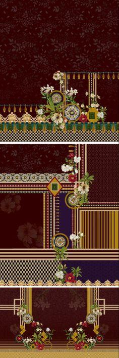 Photo Wall Collage, Border Design, Textile Prints, Japanese Art, 3 Piece, Digital Prints, Fabric, Ideas, Japan Art