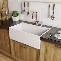 "View the Miseno MNO3020FC Modena 30"" Single Basin Farmhouse Fireclay Kitchen Sink at FaucetDirect.com."