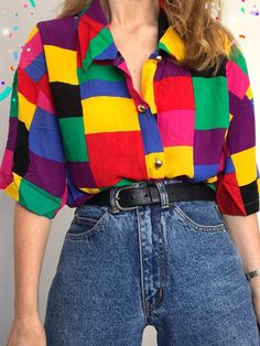 Aesthetic clothes - Old Fashion Geometric patterns Coloring Long Sleeve Shirt nicolemove com – Aesthetic clothes Indie Outfits, Retro Outfits, Tumblr Outfits, Cute Casual Outfits, Women's Casual, 80s Inspired Outfits, 80s Style Outfits, Indie Clothes, 90s Clothes