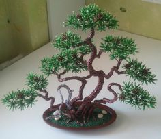Pine bonsai | biser.info - all about beads and beaded works