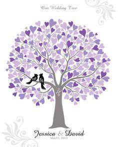 Wedding Guest Book Alternative, Wedding Tree Print, Wedding Gift, Bridal Shower Guest Book, 16x20 (120 signatures)
