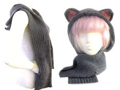 Kitty Hood Scarf With Pockets free pattern by Cat Morely at cutoutandkeep.net