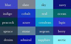 Color Thesaurus – Les noms des couleurs (image)