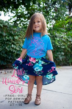 trendy sewing skirts for beginners free pattern for girls Girls Skirt Patterns, Skirt Patterns Sewing, Knitting Patterns Free, Kids Patterns, Circle Skirt Pattern, Skirt Pattern Free, Free Pattern, Little Girl Skirts, Skirts For Kids