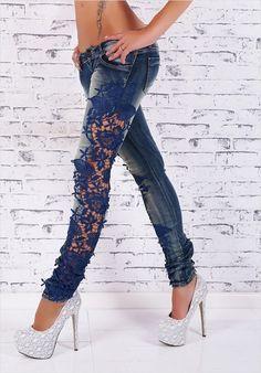 Aufregende Röhren Jeanshose mit Spitze | http://www.gonpin.me/