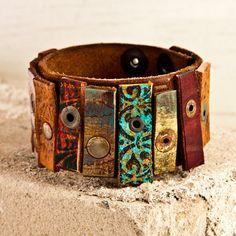 ☮ American Hippie Bohemian Style ~ Boho Handmade Mixed Leather Cuff!