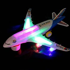 Baby Electric Airplane Toy With Beautiful Flashing Lights Loud Plane Sound Goes Around Changes Directions Contact Toys Bump And Go Air A380 Kids Action Model Attractive Sounds Direction For Age 3 Up *** Be sure to check out this awesome product.Note:It is affiliate link to Amazon. #beautiful