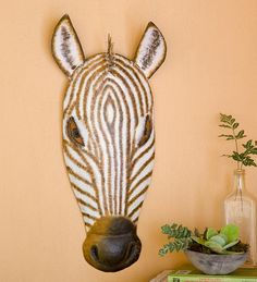 Recycled Metal Zebra Head Wall Art