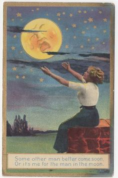 Vintage postcard Man in the Moon 1910s 1914 Scotia New York