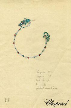 Harumi for Chopard original Dragon earrings sketch.