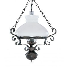 Victorian Hanging Oil Lantern Pendant Light, Rustic with Opal Glass