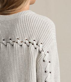 Mujer Aria Laced Short Sweater (Ash Grey) - product_image_alt_text_2