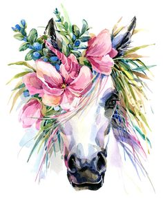 Photo about Watercolor unicorn illustration. White horse in flower wreath. Illustration of horn, magic, fairy - 94896058