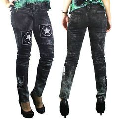 just got these- been looking for sum cute lace up pants. Too Fast Gothic Punk Emo Rockabilly Steampunk Moto Denim Pants Goth | eBay