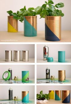 basteln-mit-dosen-bemalen-spray-blumentopf-gruene-pflanze-diy tinker-with-cans-paint-spray-flower pot-green-plant-diy Tin Can Crafts, Diy Crafts To Sell, Home Crafts, Sell Diy, Decor Crafts, Upcycled Crafts, Painted Tin Cans, Diy Cans, Flower Spray