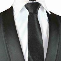 Black Plain Silk Tie with black silk pouch (S007)