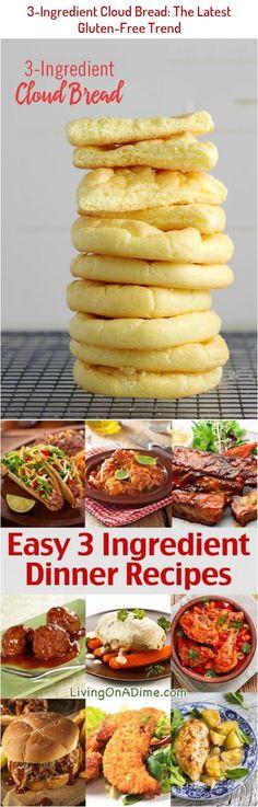 3-Ingredient Cloud Bread: The Latest Gluten-Free Trend Recipe Chicken, Chicken Recipes, Cardamon Recipes, 3 Ingredient Dinners, Cloud Bread, 3 Ingredients, Dinner Recipes, Gluten Free, Breakfast