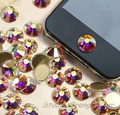 1PC Bling Crystal Swarovski Element Rhinestone Apple iPhone Home Button Sticker, Multicolor. $2.88, via Etsy.