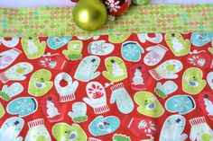 $38 #Christmas #Table #Runner #topper  #Handmade #Holiday #Table #decor #winter #mitten #red #green #aqua by #WexfordTreasures