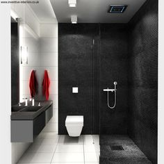 Black And White Small Bathroom Interior Design http://hative.com/small-bathroom-design-ideas-100-pictures/