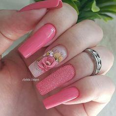 New spring pedicure designs hot pink Ideas Acrylic Nails Coffin Short, Acrylic Nail Art, Acrylic Nail Designs, Nail Art Designs, Pedicure Designs, Manicure E Pedicure, Pink Pedicure, Cute Nails, Pretty Nails