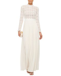 d2348fd5a5840 Self-Portrait | White Pleated Crochet Maxi Dress With Floral Bodice | Lyst Self  Portrait