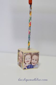Mod Podged Cube Photo Holder. Great for Mother's Day!