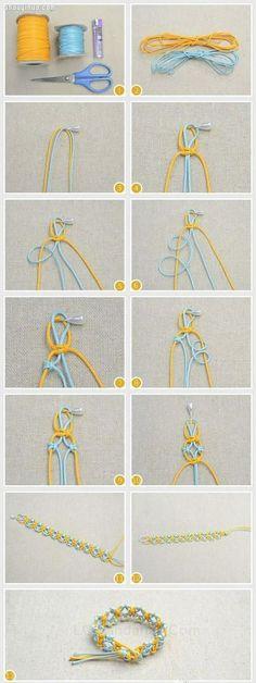 两股绳编织带铜钱图案手链DIY图解教程 - www.shouyihuo.com