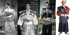 """""""kamishimo"""" refers to the entire outfit, when the top and bottom outer pieces are matched/coordinated like this.  This is an early 1600s style kataginu and hakama; far right is 1700s Edo period version"""