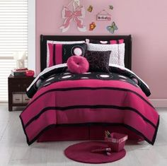 more fuschia-based room--I don't like the wall color here, but the bedding is cute. click on it if the picture doesn't automatically pop up