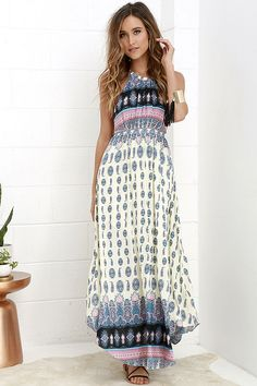 Learn to Fly Cream and Blue Print Maxi Dress | SHOP @ CollectiveStyles.com