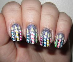 Birthday Candle Nails... Might have to find time to do this today :)