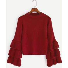 Red Layered Bell Sleeve Sweater (274.925 IDR) ❤ liked on Polyvore featuring tops, sweaters, red, romwe, extra long sleeve sweater, flared sleeve sweater, red bell sleeve top, long sleeve stretch top and red sweater