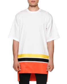 Colorblock Short-Sleeve Oversized T-Shirt, White/Orange - Dsquared2