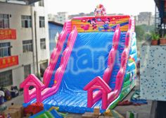 This is a giant Mickey Minnie mouse love themed inflatable slide, the height is feet, nearly 3 stories. Inflatable Slide, Mickey Minnie Mouse, Event Planning, First Birthdays, Kid Stuff, Outdoor, Fiestas, Outdoors, One Year Birthday