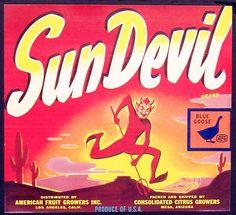 Sun Devil Brand Vintage Fruit Crate Label c. Vintage Labels, Vintage Ads, Vintage Posters, Art Posters, Vintage Ephemera, Vintage Signs, Orange Crate Labels, Label Art, Vegetable Crates