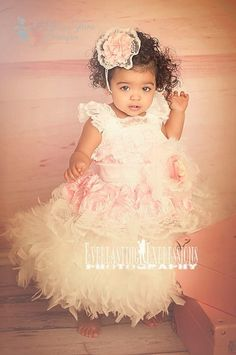 Like An Angel Girls Feather Rosette Dress by sharpsissors on Etsy, $168.00