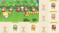 animal crossing island ideas Made some English/Japanese fruit signs for my orchard and wanted to share! to grab all 5 : ACQR Animal Crossing Guide, Animal Crossing Qr Codes Clothes, Animal Games, My Animal, Orchard Design, Motif Acnl, Motif Art Deco, Ac New Leaf, Motifs Animal