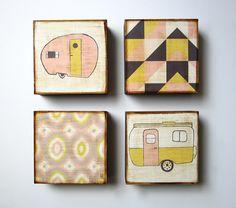 Art Block Set l Modern Traveler (4) 5x5 wood block geometric pattern pastel trailer redtilestudio