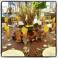 Traditional African wedding centerpieces and decor. www.facebook.com/joburgtents or SecundaTents&Events African Wedding Theme, African Theme, African Style, Zulu Traditional Wedding, Traditional Decor, Wedding Set Up, Brunch Wedding, Wedding Reception, Wedding Ideas
