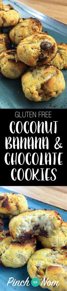 Gluten Free Coconut, Banana & Chocolate Chip Cookies | pinchofnom.com