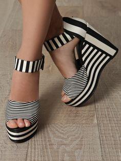Pierre Hardy Canvas-Stripe Wedge Shoes