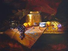 Copper Pot, Blue & Lemons by Christine Hooker Oil ~ 16 x 20