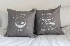 I love you to the moon and back - His and Hers Pillow Covers 18 x 18 inch on Etsy, $61.45 AUD