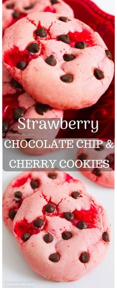 Soft, chewy, festive and inky-pinky strawberry chocolate chip cookies recipe filled with cherries. These strawberry cookies need a very few ingredients and no chilling! Summer Desserts, Christmas Desserts, Easy Desserts, Delicious Desserts, Dessert Recipes, Fruit Dessert, Easter Recipes, Strawberry Chocolate Chip Cookies Recipe, Cherry Cookies
