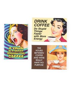 Ephemera Drink Coffee Magnet Set | zulily