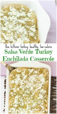 So much easier than rolling enchiladas but still fantastic flavor of them. Healthy Turkey Enchilada Casserole with Salsa Verde - Low Calorie, Low Fat Dinner Recipe #SundaySupper