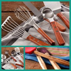 Pioneer Woman gadgets! Goodbye black plastic utensils, hello steel & wood! The carved quotes on the spatula handles are adorable. I only wish her whisk was flat, like the one I always see her use!