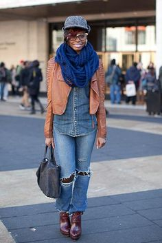 Street Style: New York Fashion Week Fall 2013: Denim Diva: Page 35 : Essence.com Love the scarf and jacket!!